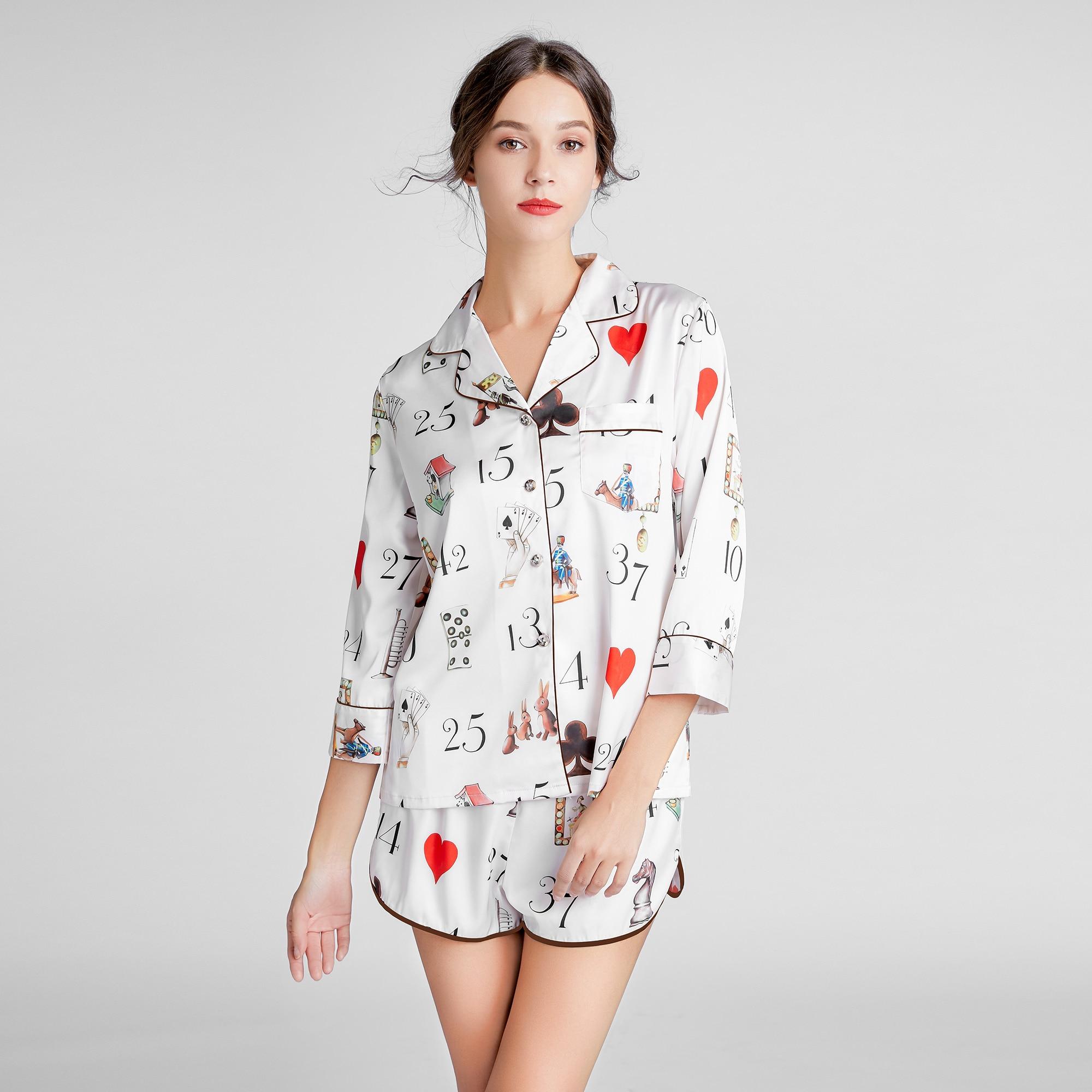 Summer Sexy Pajamas Women Cute Letter Print Pajama Sets Ladies Silk Satin Tops and Shorts Pyjama Woman Nightwear Sleepwear Suits
