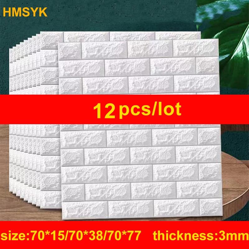 12PCS Self adhesive Waterproof TV Background Brick Wallpapers 3D Wall Sticker Living Room Wallpaper Mural Bedroom Decorative