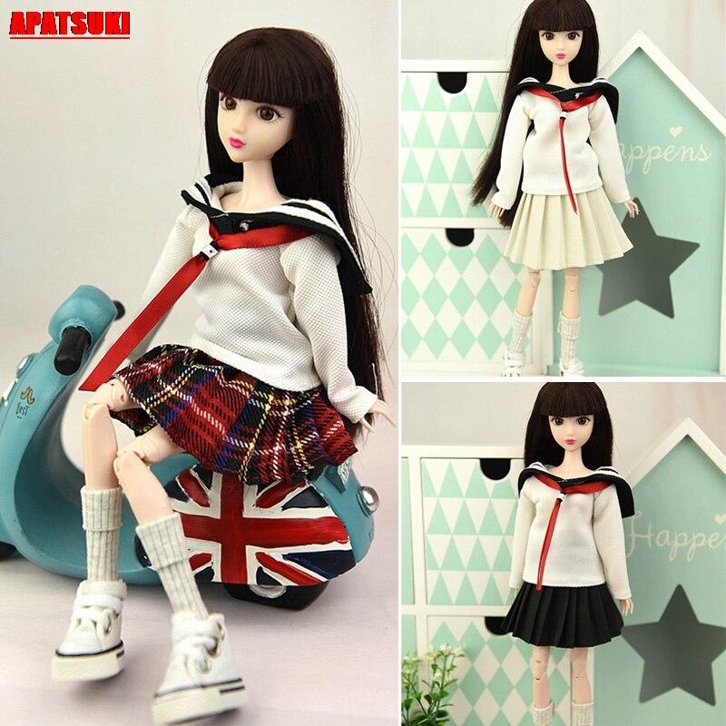 Boneca roupas para barbie boneca topos camisa saia plissada estudantes traje para boneca barbie 1/6 bjd bonecas acessórios do miúdo brinquedo