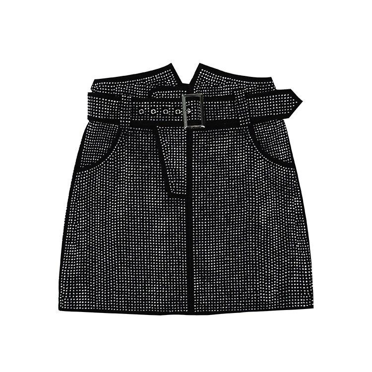 Spring Genuine Sheepskin Leather Min Skirts Womens Autumn Black Brown Wrap Shrot Rhinestone Bangdage Goth High Waist Punk Skirt