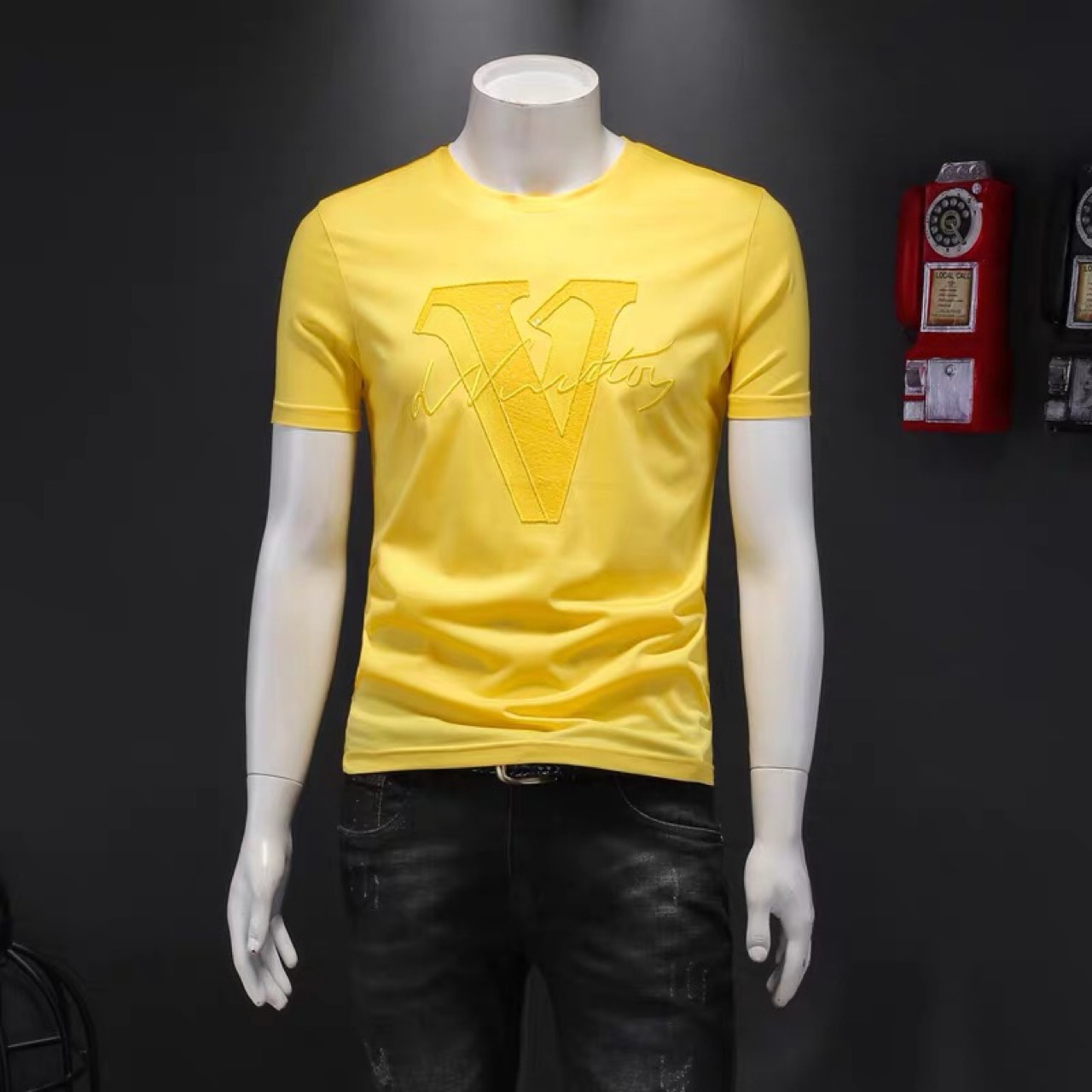 European Station 2021 Summer New Fashion Letters Embroidered Short-Sleeved T-shirt Slim Men's Bright Color Half-Sleeve Shirt