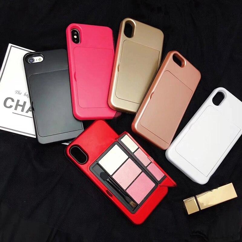Paleta moda Sombra de Olho Maquiagem Espelho Caso de Telefone Para O iphone XS X 7 8 Plus 6 6S Mais Para Trás cubra com Lápis de Sobrancelha Pó
