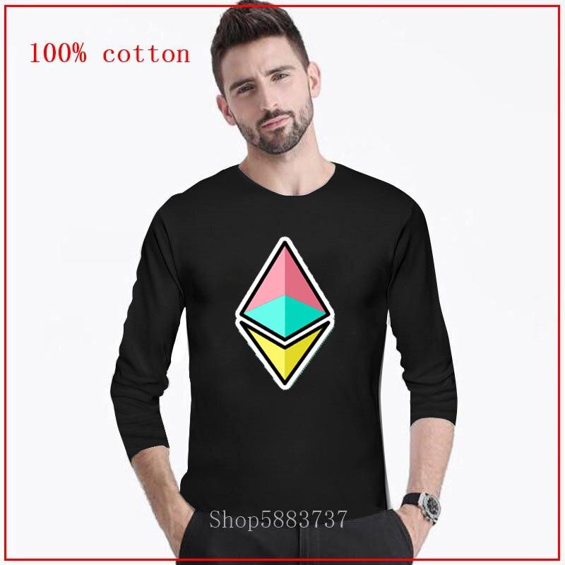 Logotipo Ethereum hombre 80s 90s retro cool moda divertida camiseta larga Neon Rainbow Ethereum Virtual Crypto moneda camiseta