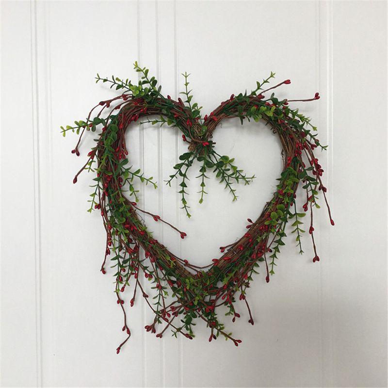 Flores artificiais coração-em forma de bagas grinalda primavera grinalda ao ar livre para a janela da parede da porta dianteira festa de casamento decoração