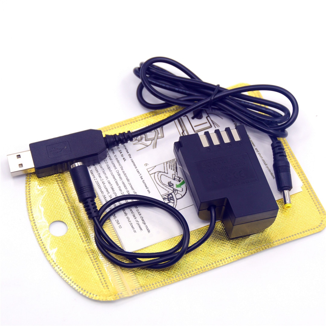 Banco de potencia PRO usb cable + DMW-DCC12 DMW-BLF19 BLF19E BLF19PP acoplador de cc de la batería para Lumix DMC-G9 DMC-GH5s DMC-GH5 DMC-GH3 DMC-GH4