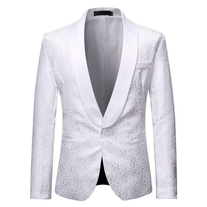 White Floral Jacquard One Button Suit Jacket Men Slim Fit Shawl Lapel Tuxedo Blazer Men Party Wedding Groom Dress Blazers Male