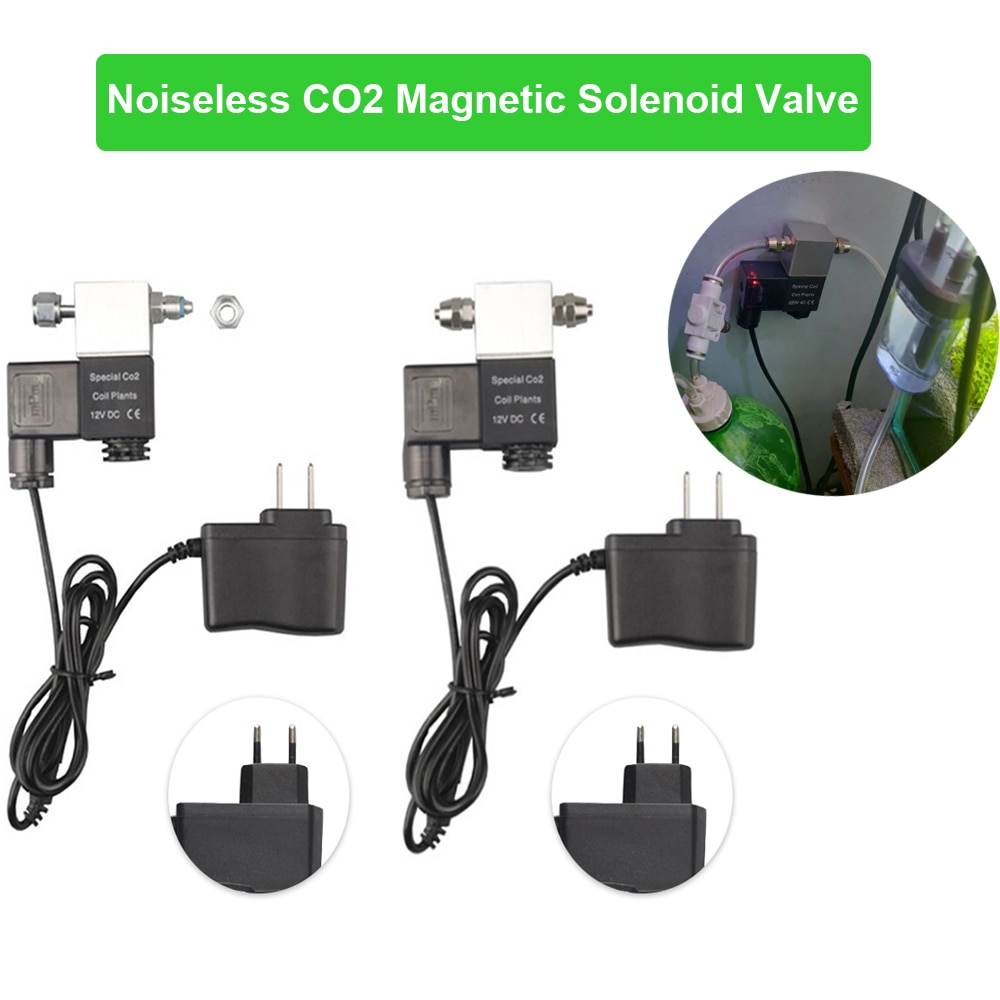 Regulador de válvula solenoide Co2 acuario silencioso CC 110 V-220 V baja temperatura Co2 acuario tanque de peces válvula magnética eléctrica