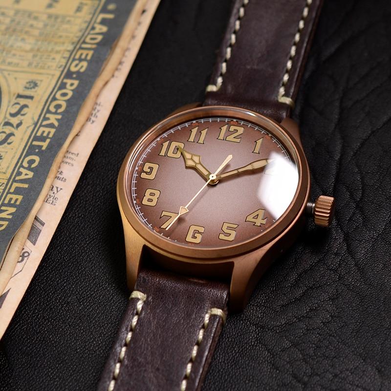 Baltany الرجال البرونزية ساعة الطيار الياقوت خمر 100 متر ST2130 التلقائي الميكانيكية مقاوم للماء الساعات الرياضية للرجال