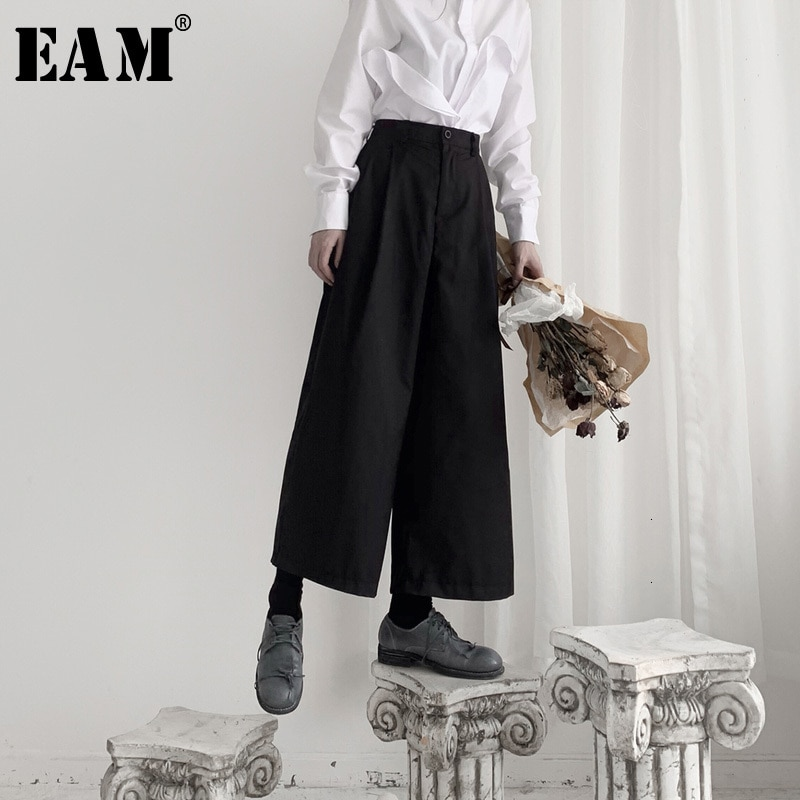 EAM-بنطلون نسائي بخصر عالٍ ، ملابس ترفيهية ، ساق طويلة ، فضفاض ، عصري ، مجموعة ربيع وخريف 2021 ، 19A-a551