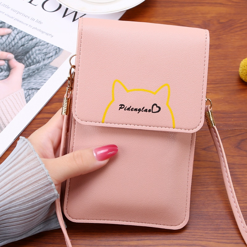 2021 Pink Women Wallet Brand Luxury Design Multifunctional Mobile Cell Phone Bag Large Capacity Card