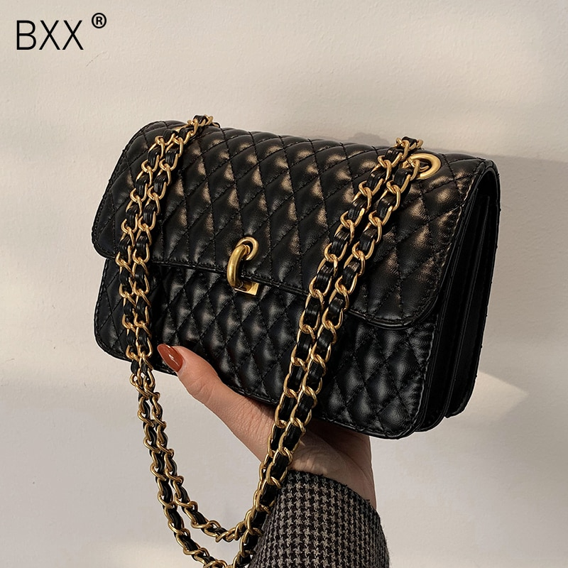[BXX] Lingge PU Leather Small Crossbody Bag 2021 Fashion High Quality Lady Travel Luxury Chain Shoulder Handbag and Purses HQ845