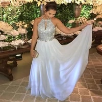 crystals prom dresses 2020 halter beaded with crystals a line white chiffon custom made floor length evening party dresses 2020