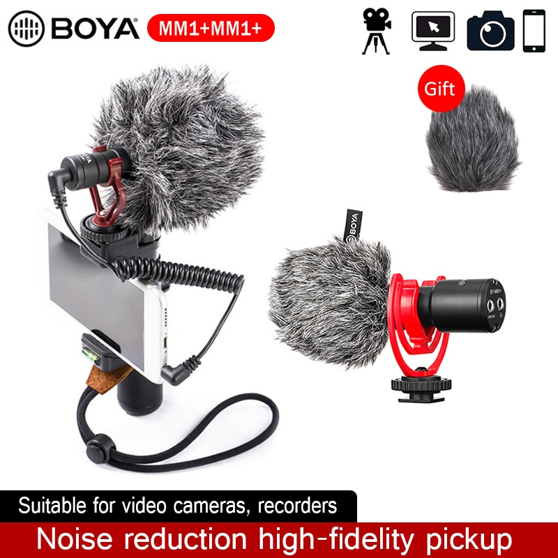 BOYA BY-MM1 + / MM1 بندقية فيديو ميكروفون لاسلكي العالمي تسجيل ميكروفون آيفون الهاتف الذكي DSLR كاميرات يوتيوب