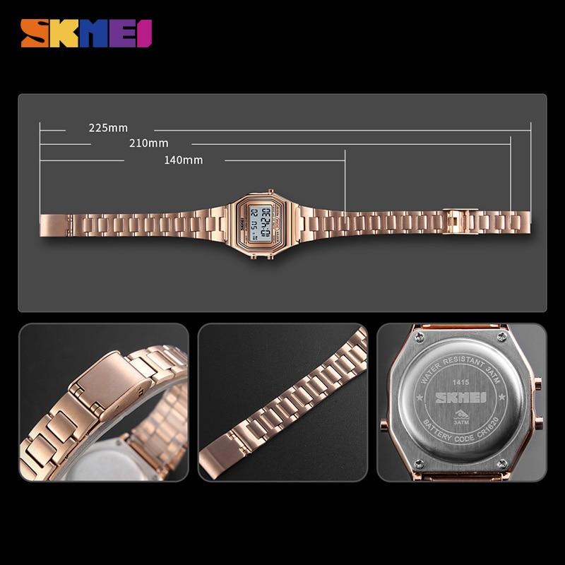 SKMEI Women Watches Ladies Waterproof Digital Wristwatch Stopwatch Black Light Alarm Female Sport Watches Clock reloj mujer 1415 enlarge