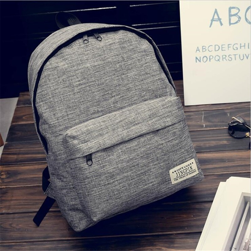 Men Male Canvas Backpack Gray Casual Rucksacks 15inch Laptop Backpacks College Student School Bag Women Mochila