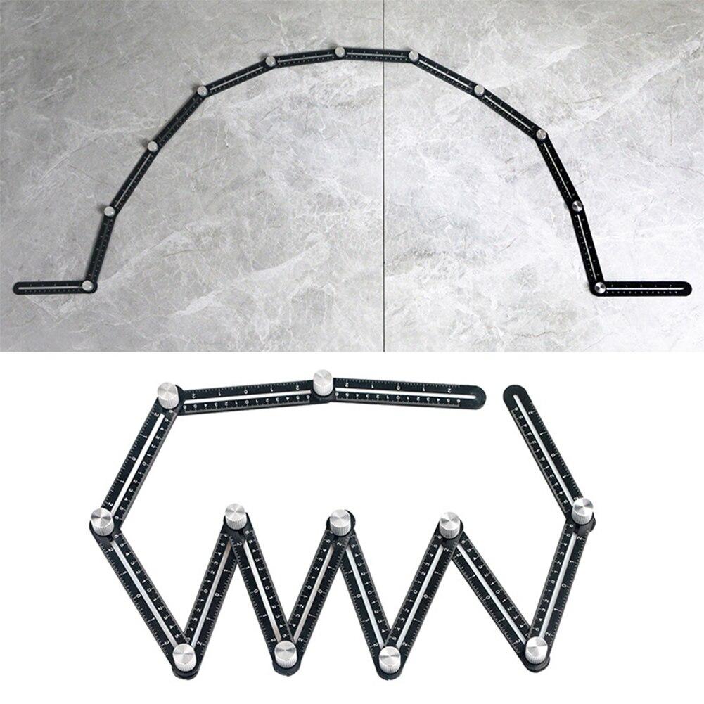 Multi ângulo de medição régua 12-lados liga ângulo localizador modelo ferramenta 12 régua dobrável tijolo telha ferramentas de posicionamento de canto de madeira