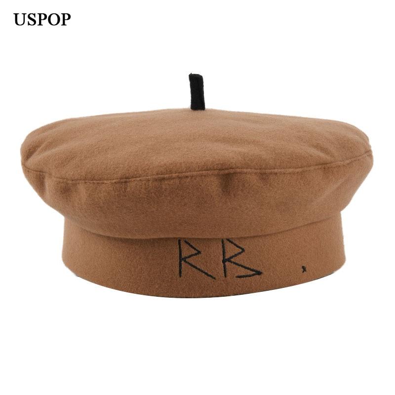 Новинка, зимние шапки USPOP, женские шерстяные шапки, модные белые береты, шерстяной берет, женские теплые шапки