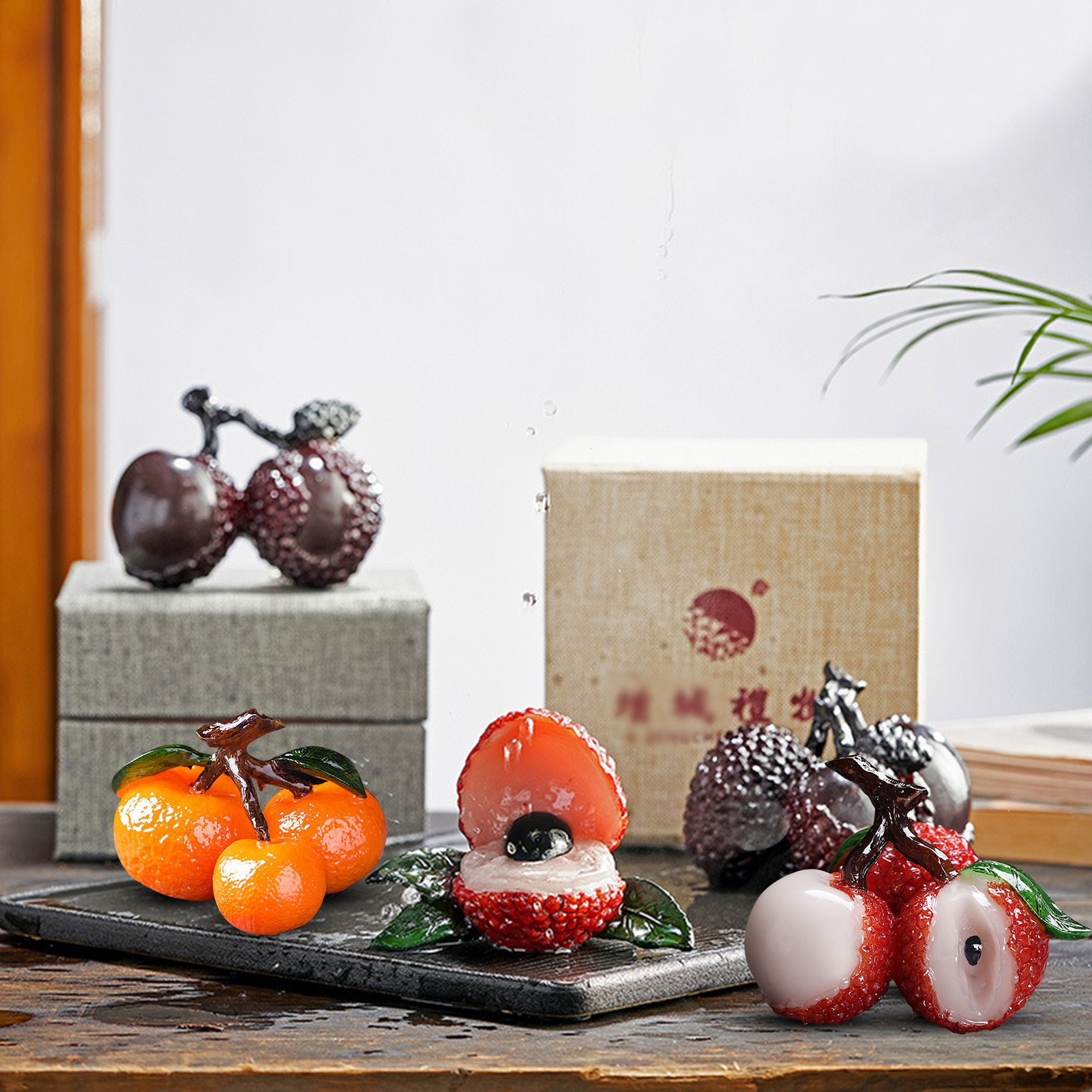 Fruit Ornament Personalized Tea Set Accessories for Gifts It will change color when it meets water lifelike Interesting Role