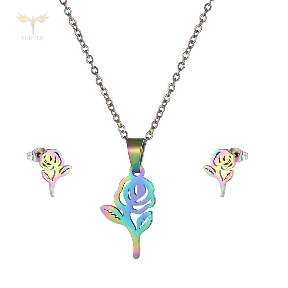 Romântico rosa flor pingente conjunto de jóias feminino colar brincos cor aço inoxidável moda design estético jóias