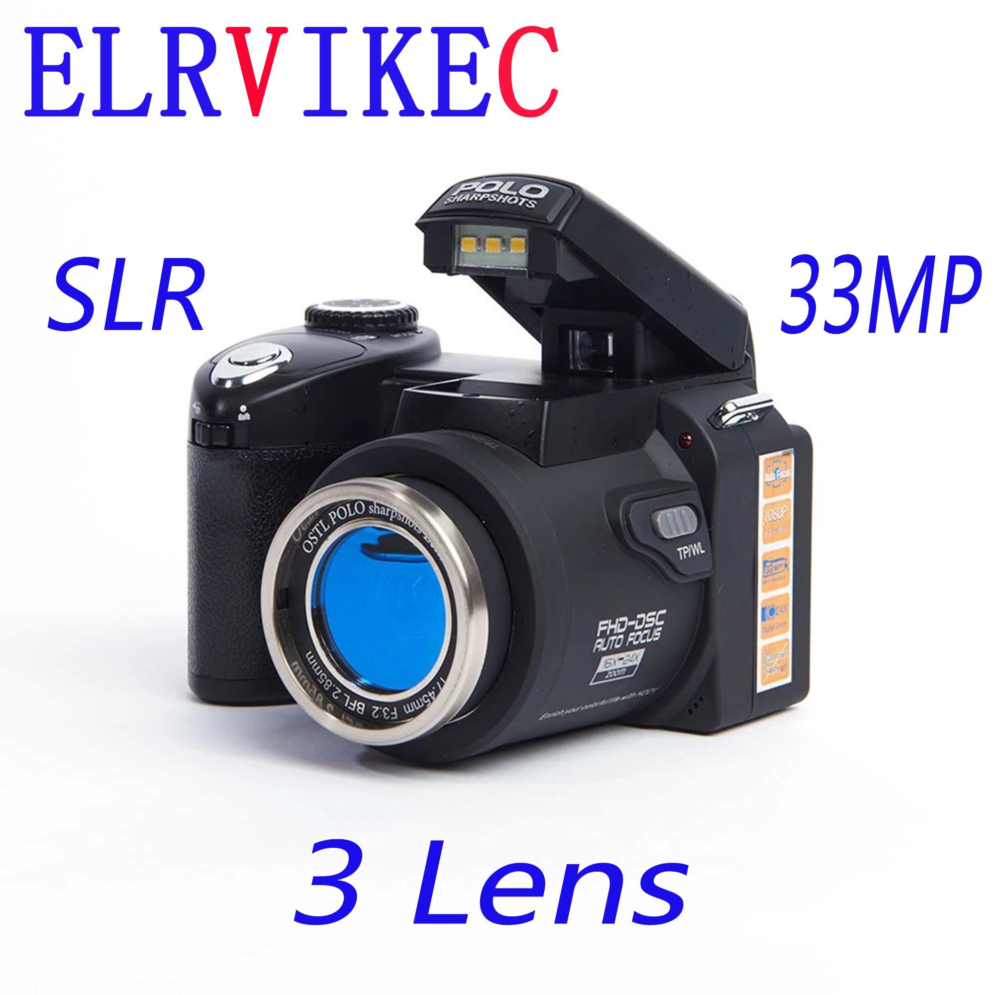 كاميرا رقمية elrفيكتور ec 2021 HD POLO D7100 33 مليون بيكسل تركيز تلقائي كاميرا فيديو SLR احترافية التكبير 24X ثلاث عدسات
