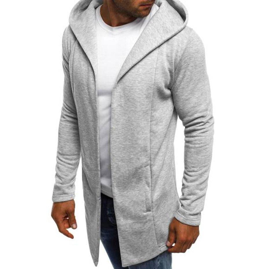 ZOGAA Sudadera con capucha para hombres de los hombres de Chaqueta larga sudaderas con capucha Streetwear casuales de los hombres de otoño chaqueta ajustada abrigo Hombre Ropa