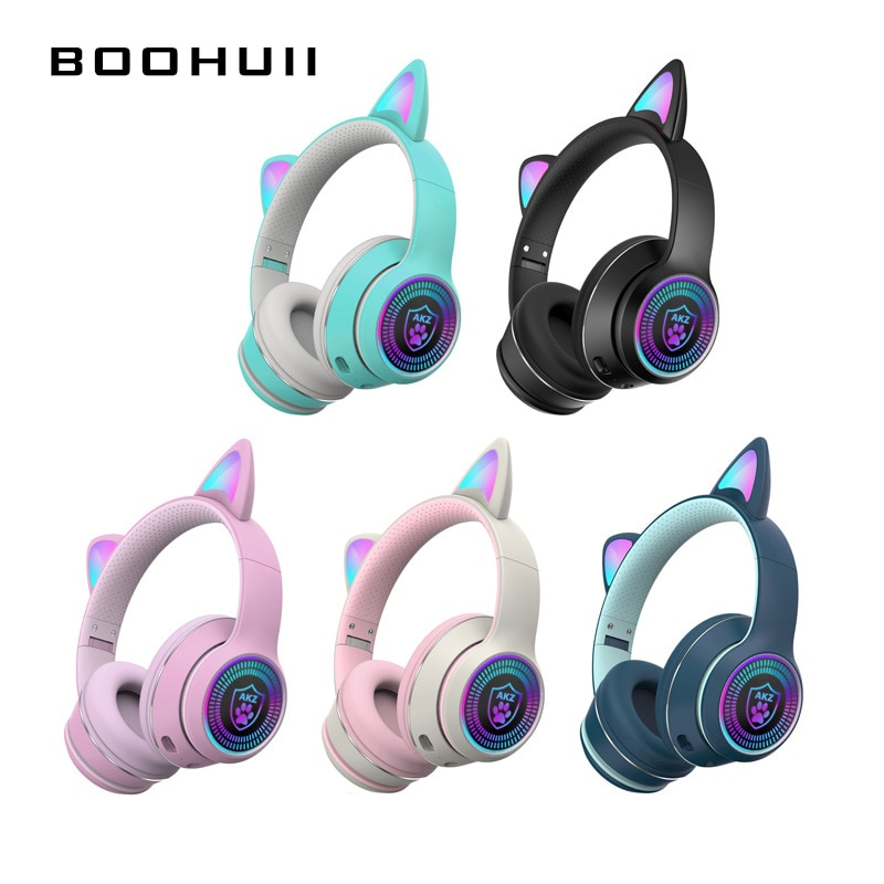 Wireless Bluetooth Headset Luminous Cat Ear Headphone Foldable Mobile Phone Computer Gaming Learning