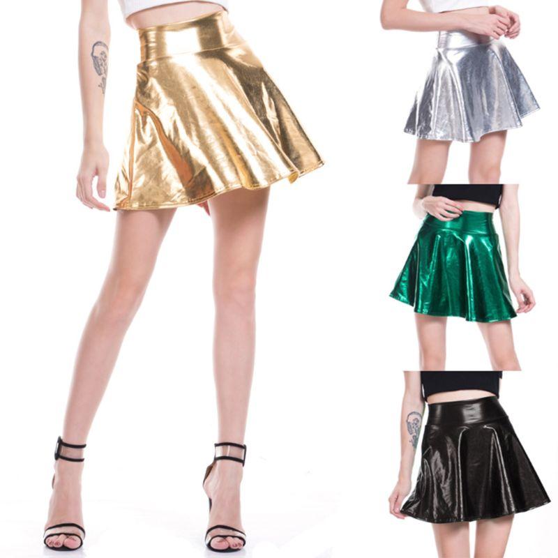 Mujer alta cintura metálica mojado líquido de cuero acampanado plisado mini falda estilo patinadora de brillo de Color vestido Clubwear