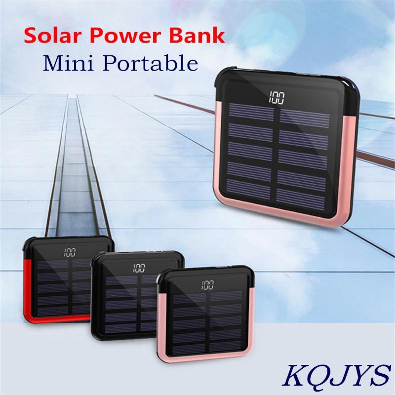 KQJYS المحمولة باور بانك صغير ل شاومي آيفون سامسونج ممن لهم فيفو هواوي 10000mAh المحمول الطاقة شاحن العرض الرقمي للطاقة الشمسية