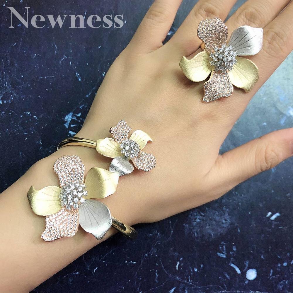 Newness de lujo flor brazalete anillo conjunto moda juegos de joyas para mujer boda compromiso boda