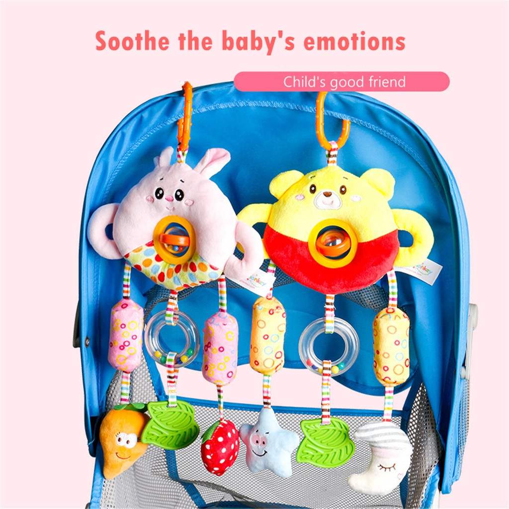 Baby Infant Cartoon Animal Hanging Bell Rattle Teether Sound  Stroller Plush Toy Toys For Children Bed Bell Baby Cot