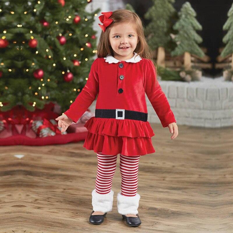 Осенне-весенние вечерние комплекты одежды для маленьких девочек с изображением оленя, платье + штаны, детская одежда Комплекты из 2 предметов с Санта-Клаусом