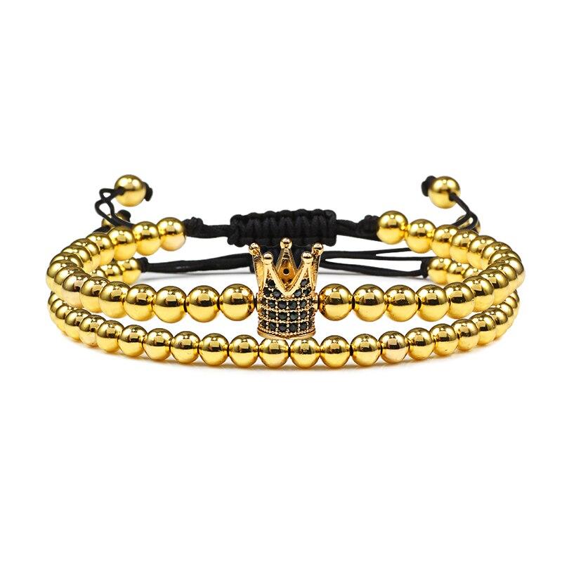Nuevo brazalete de cuentas para parejas, pulsera trenzada de Micro corona de circonia cúbica para hombres y mujeres, brazaletes ajustables, joyería para sus manos, regalos DIY para enamorados