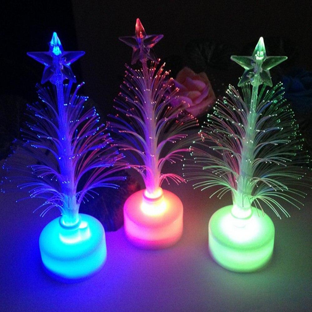 Decoración navideña de fibra óptica LED para las vacaciones, luz LED nocturna con árbol de Navidad que cambia de Color, decoración del hogar para niños, nuevo Compuda