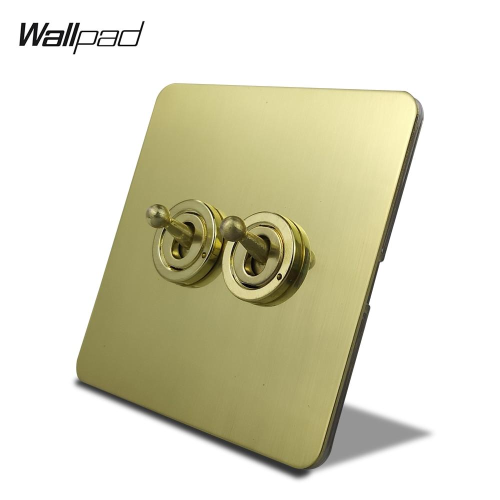 وول باد H6 الساتان الذهب 2 عصابة تبديل التبديل الكهربائية مفتاح الإضاءة 2 طريقة نحى النحاس اللون موقد غاز مع لوح من الصلب المقاوم للصدأ