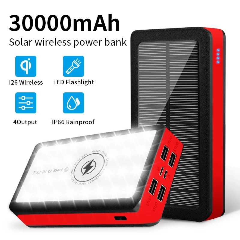 30000mAh قوة البنك اللاسلكي شحن البطارية الشمسية لوحة Powerbank سعة كبيرة شاحن الهاتف المحمول حزمة بطارية خارجية