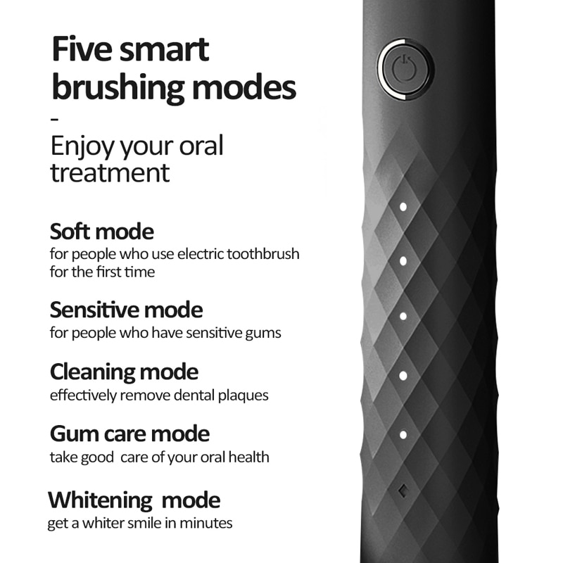Apiyoo L1 Black Business Electric Toothbrush Smart Rechargeable Sonic Toothbrush 5 Mode Adult IPX7 Automatic Ultrasonic Brush enlarge