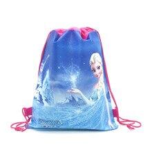 1pcs Disney Forzen Elsa & Anna Kid Favor Cotton Drawstring Bags Travel Pouch Storage Clothes Shoes B