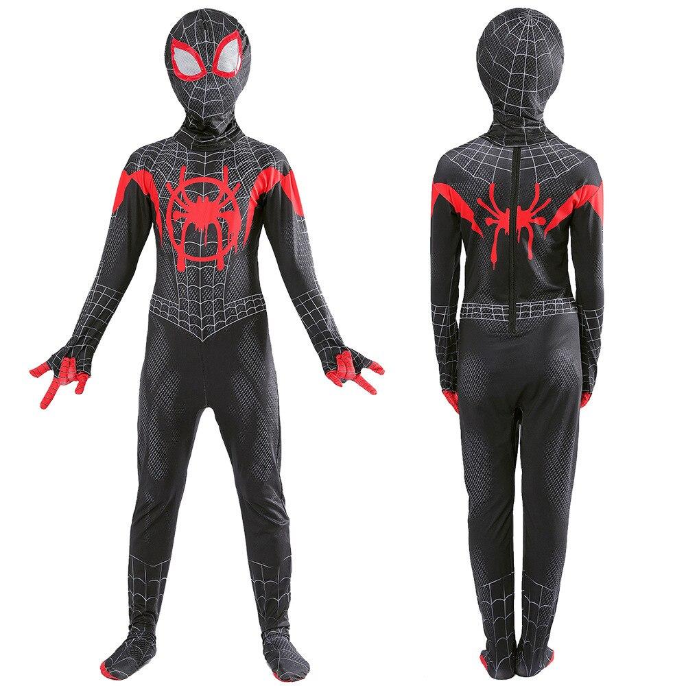 Disfraz de Spiderman negro con estampado 3D para niños y adultos, disfraz de Spiderman de superhéroe Zentai