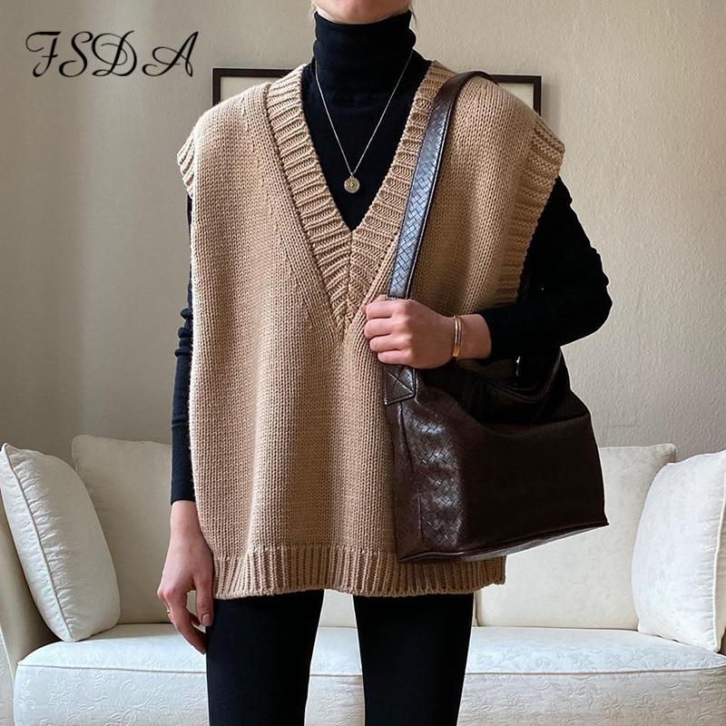 FSDA V Neck Knitted Vest Sweater Sleeveless Women Khaki Casual Pullover Black 2020 Autumn Winter Gray Jumper Fashion