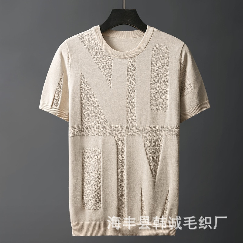 Summer Ice Silk Short-sleeved Men's Thin Tailored Large Size Sweater Loose Round Neck Icy Hollow Knitted Top