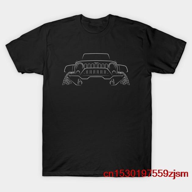 Jeep Rubicon-plantilla frontal, camiseta blanca para hombre y mujer