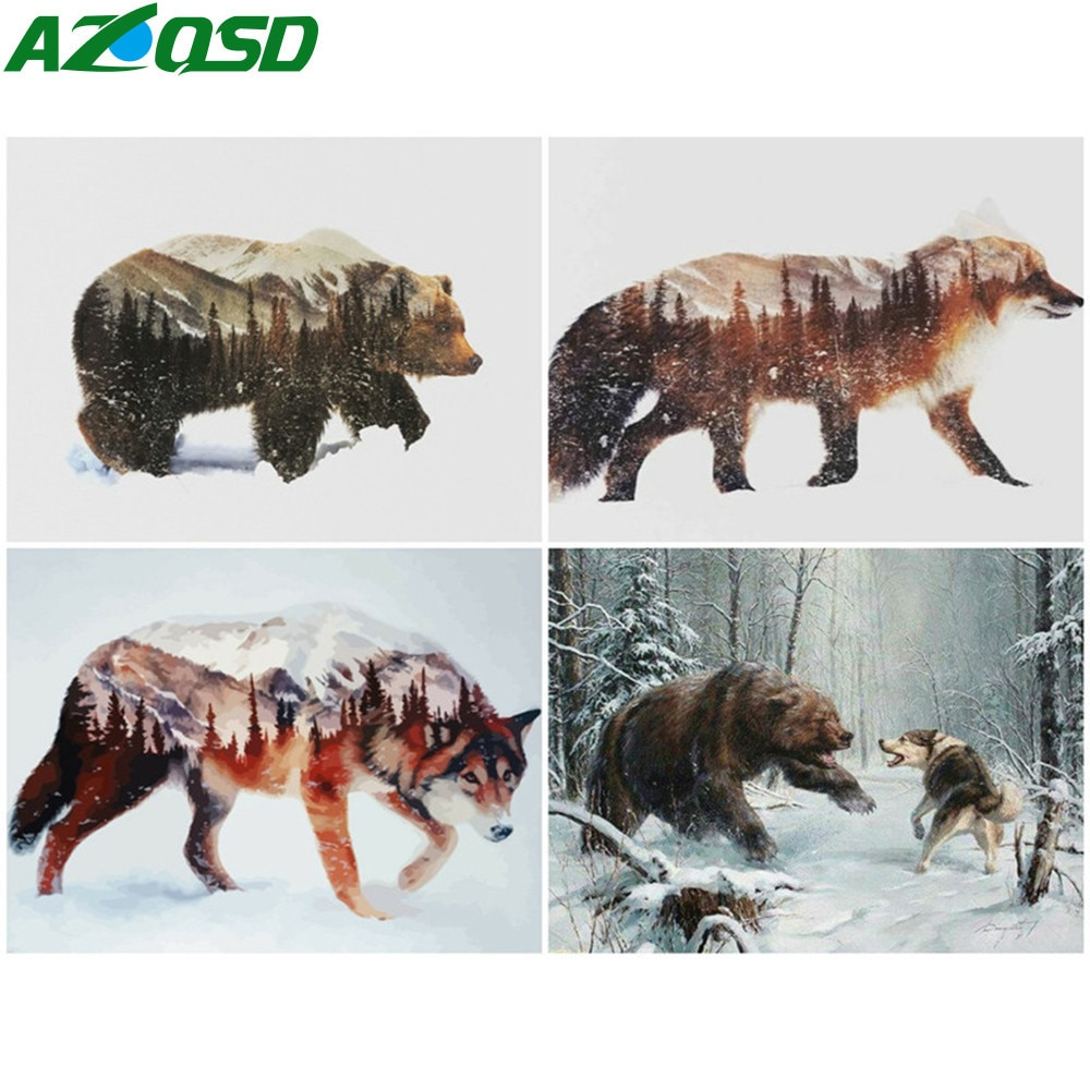 AZQSD Oil Painting By Number Bear Hand Painted Modern Wall Art Coloring Numbers Animal Kits Room Decoration