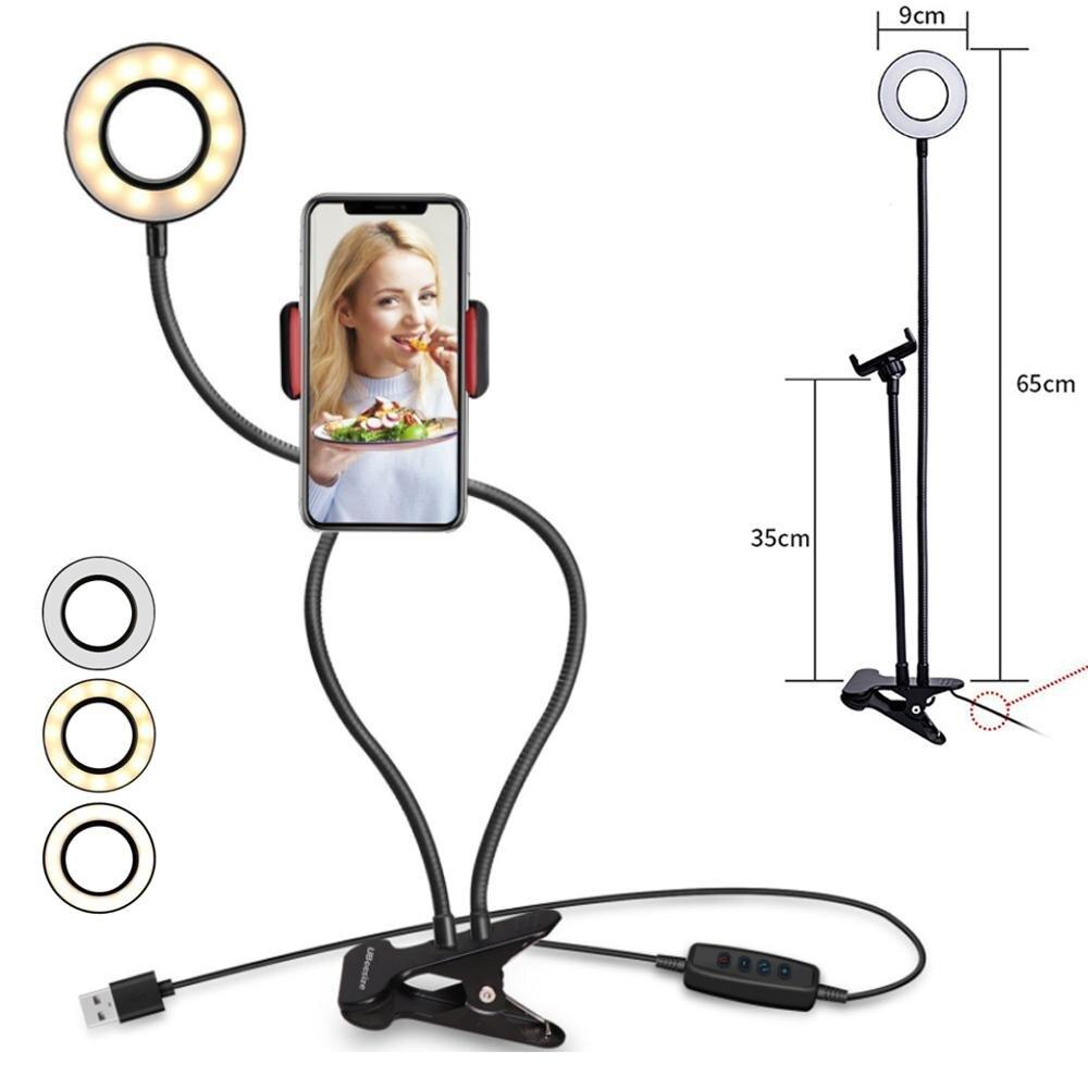 Универсальная кольцевая лампа для селфи светодиодный кольцевой светильник кольцо для штатива для Youtube Live Stream макияж камера лампа селфи тел...