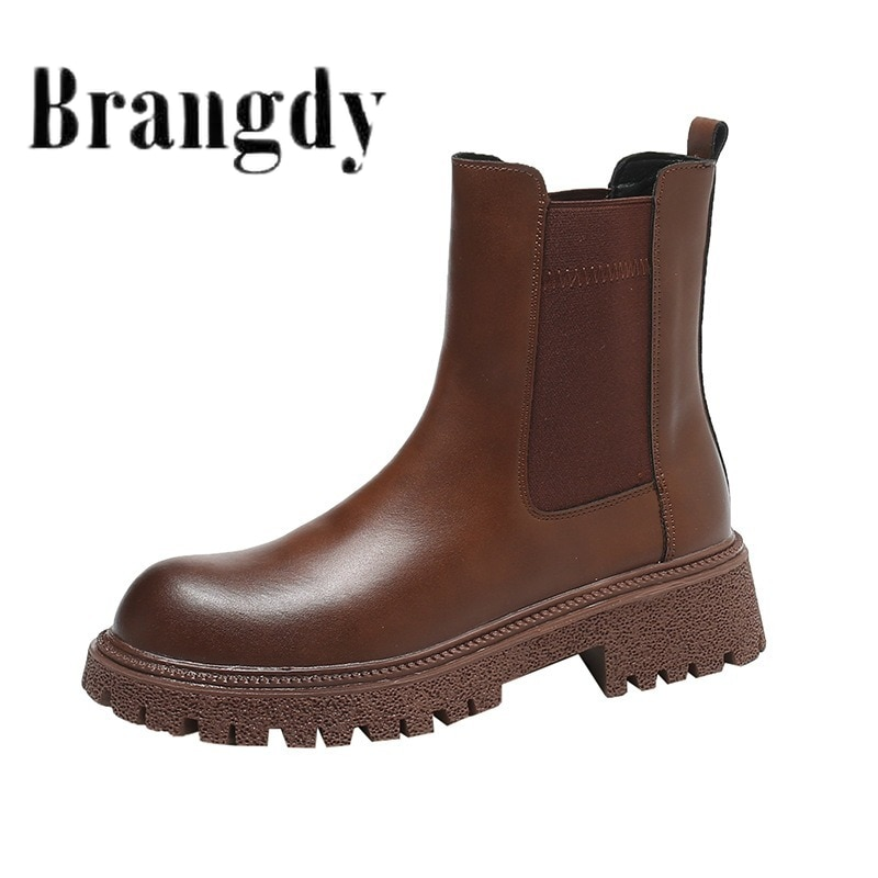 autumn winter men s chelsea boots british style fashion ankle boots black brown grey brogues soft leather casual shoes business Chelsea Boots Chunky Boots Women Winter Shoes PU Leather Plush Ankle Boots Black Female Autumn Fashion Platform Booties