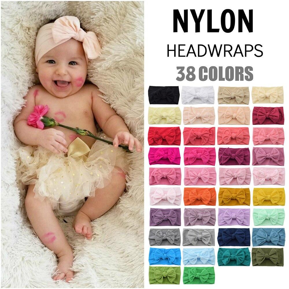 Детская нейлоновая повязка на голову с большим бантом, 38 цветов