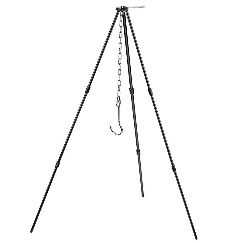 Portable suspendu Pot en plein air Camping pique-nique cuisson trépied feu Grill suspendu trépied