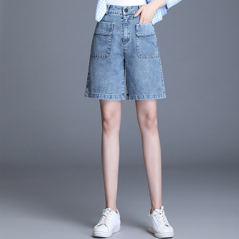 2020 New Women Fashion High Waist Loose Casual Wide Leg Denim Knee Length Pants Female Elegant Plus Size Jeans Shorts 4XL