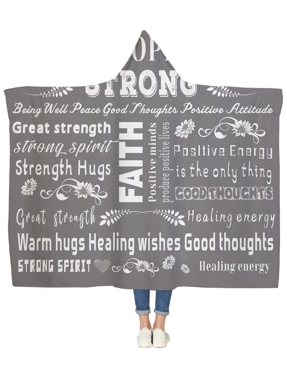 Positive Energy Attitude Gray Hooded Blanket Bedspread Blankets Blanket Flannel Travel All-Season