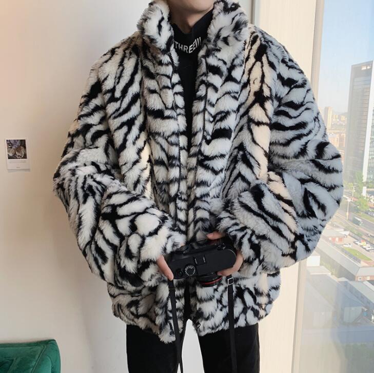 Otoño de piel sintética de visón chaqueta de cuero para hombre cálido patrón de cebra abrigo de piel para hombres chaquetas sueltas de invierno grueso de moda b598