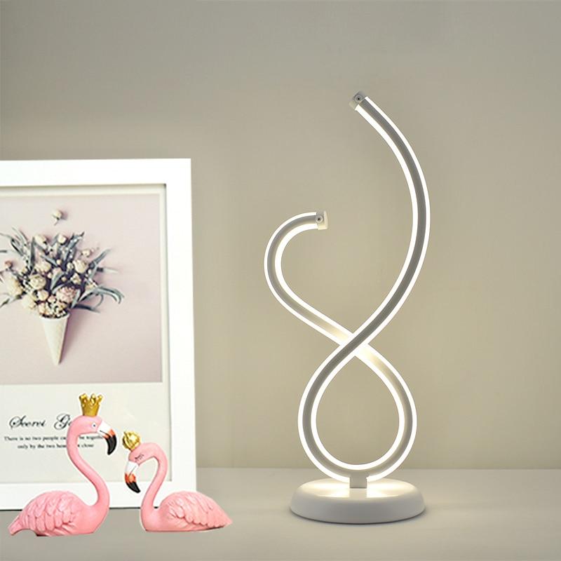 Minimalismo design elegante candeeiro de mesa interior led luzes da noite casa decorativa individualidade cama lado metal mesa luz